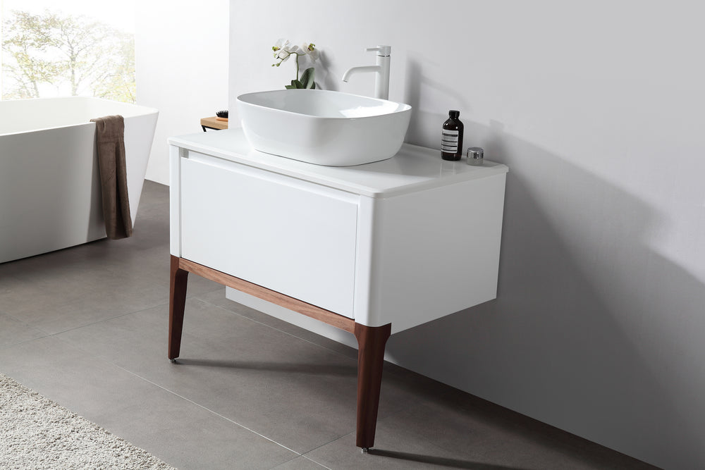 "SEBASTIAN 36"" GLOSS WHITE DUAL MOUNT MODERN BATHROOM VANITY"