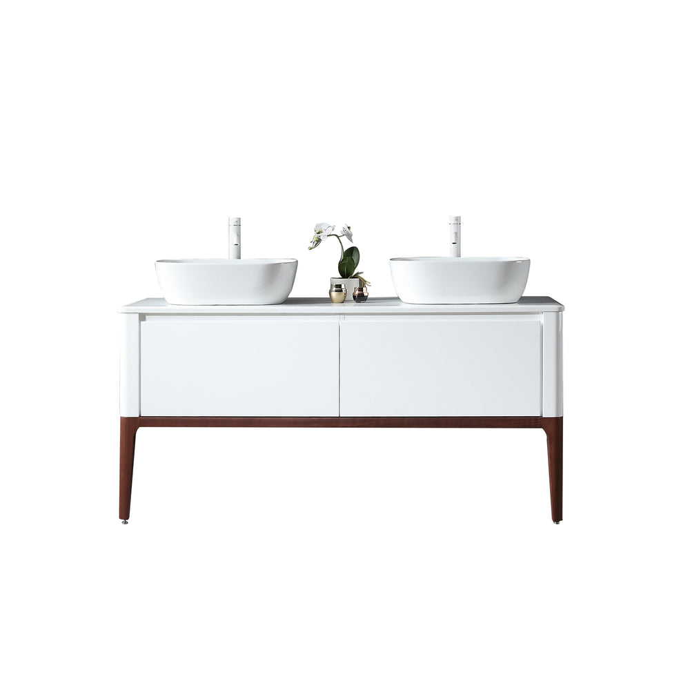 "SEBASTIAN 60"" GLOSS WHITE DUAL MOUNT MODERN BATHROOM VANITY"