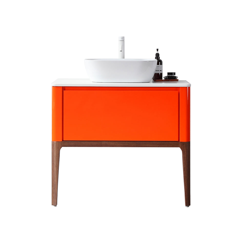"SEBASTIAN 36"" RED AMBER DUAL MOUNT MODERN BATHROOM VANITY"