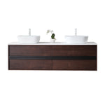 "SINTRA 72""  DARK WALNUT OAK WALL MOUNT MODERN BATHROOM VANITY"