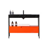 "TEXEL 42""  RED AMBER/DARK GRAY INDUSTRIAL STYLE FREESTANDING BATHROOM VANITY"