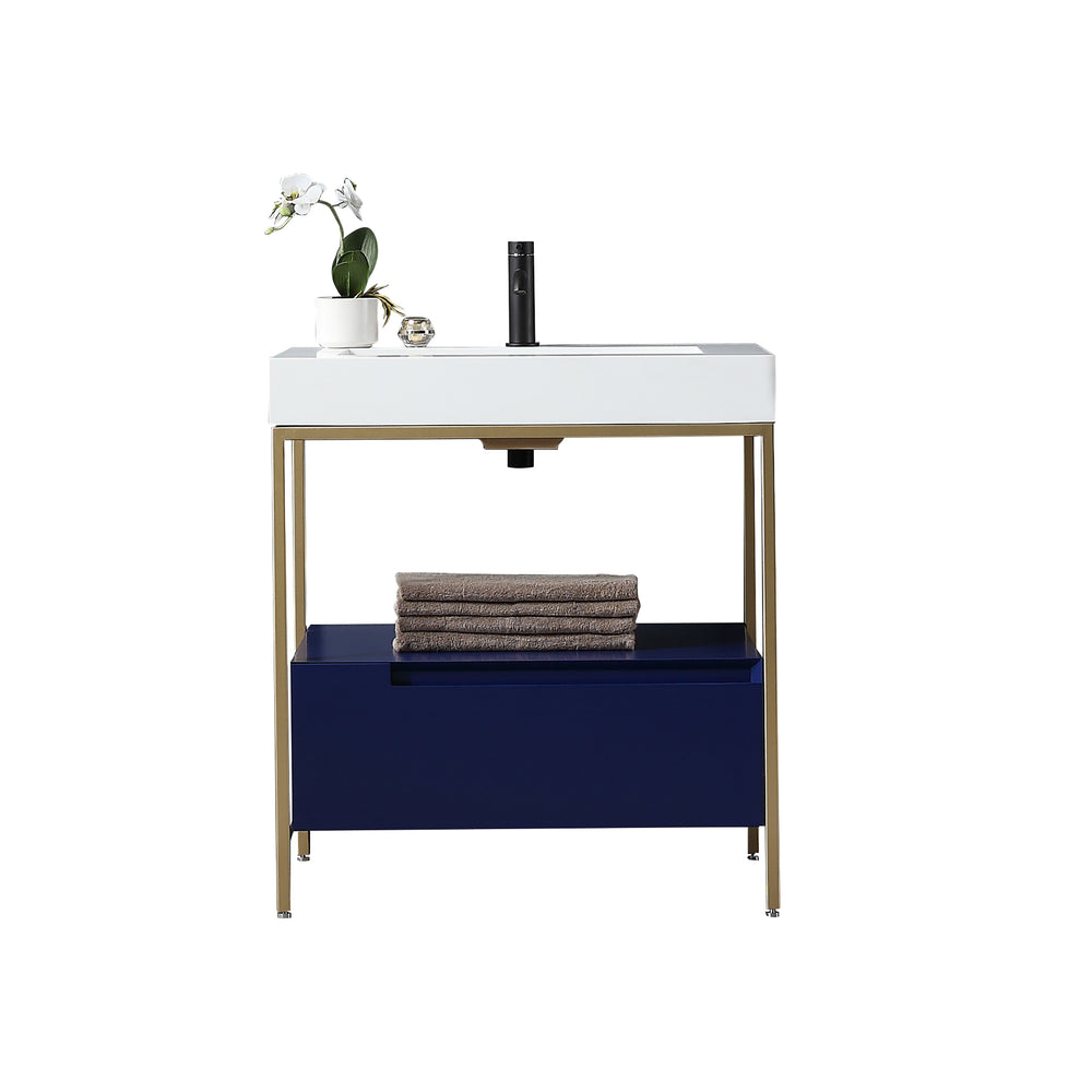 "TEXEL 30"" NAVY BLUE/GOLD INDUSTRIAL STYLE FREESTANDING BATHROOM VANITY"