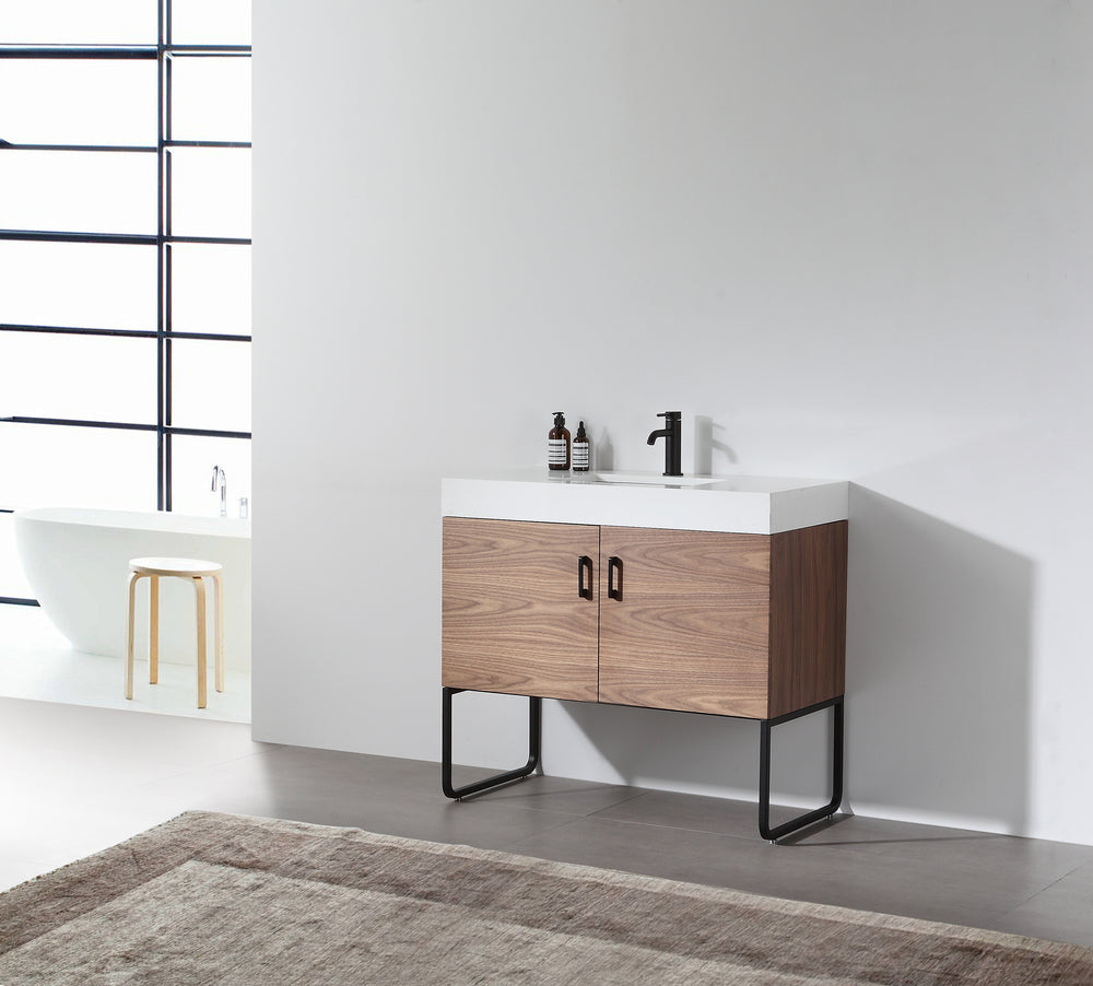 "VEEMON 36"" WALNUT DUAL MOUNT MODERN BATHROOM VANITY"