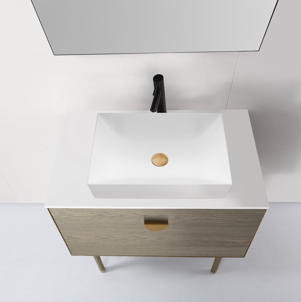 "VENESSA 36"" GOLDEN OAK DUAL MOUNT MODERN BATHROOM VANITY"