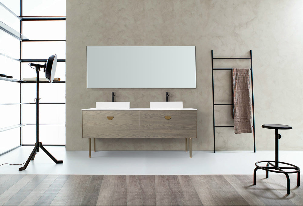 "VENESSA 72"" GOLDEN OAK DUAL MOUNT MODERN BATHROOM VANITY"