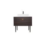 "VENESSA 36"" SMOKE GRAY OAK DUAL MOUNT MODERN BATHROOM VANITY"