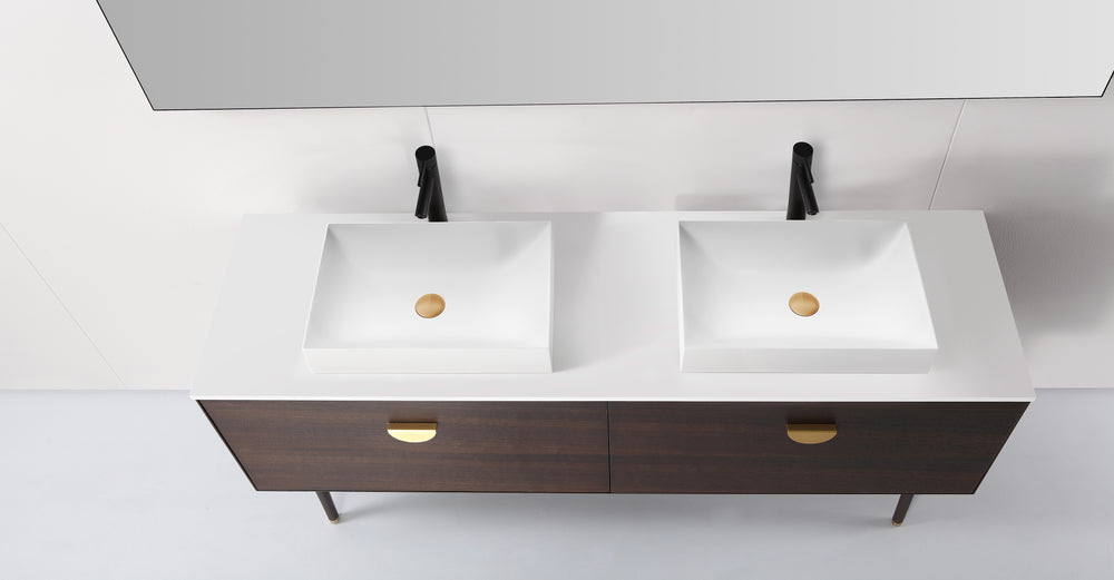 "VENESSA 72"" SMOKE GRAY OAK DUAL MOUNT MODERN BATHROOM VANITY"