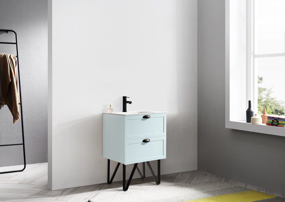 "WASILLA 24"" LIGHT BLUE DUAL MOUNT MODERN BATHROOM VANITY"