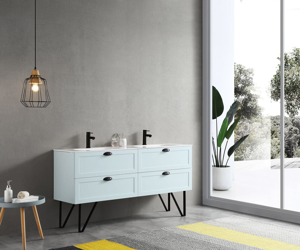 "WASILLA 60"" LIGHT BLUE DUAL MOUNT MODERN BATHROOM VANITY"