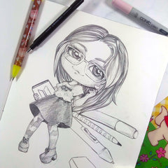 kawaii chibi girl pencil custom art commission portrait drawing manga anime