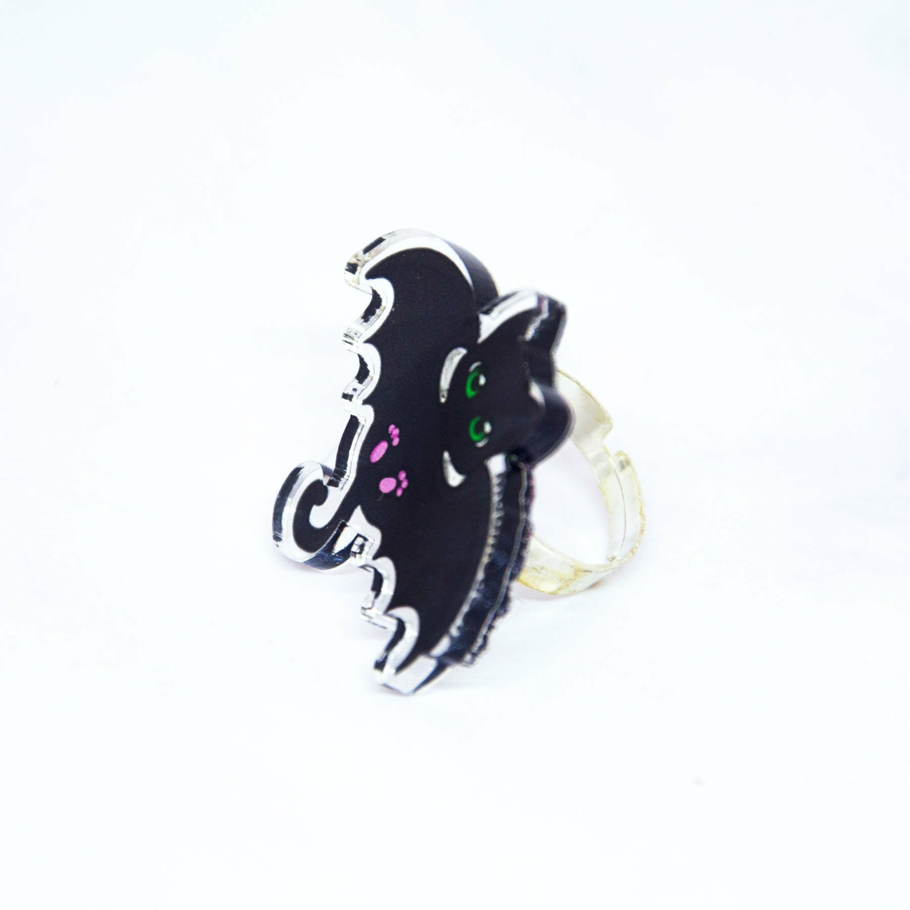 kawaii Halloween grunge bat cat ring - MadModesty