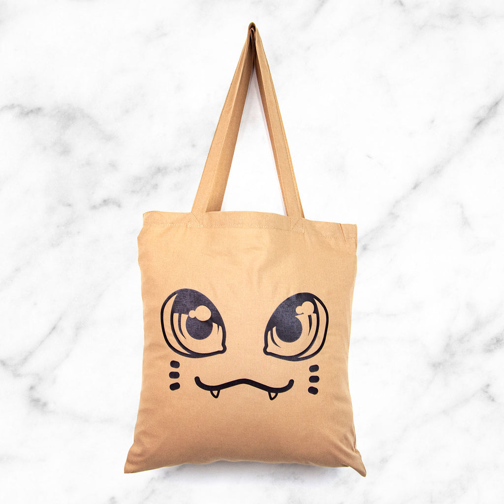 Cute coffee brown cat face tote bag - MadModesty
