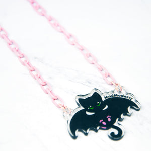 Pink plastic batcat choker necklace