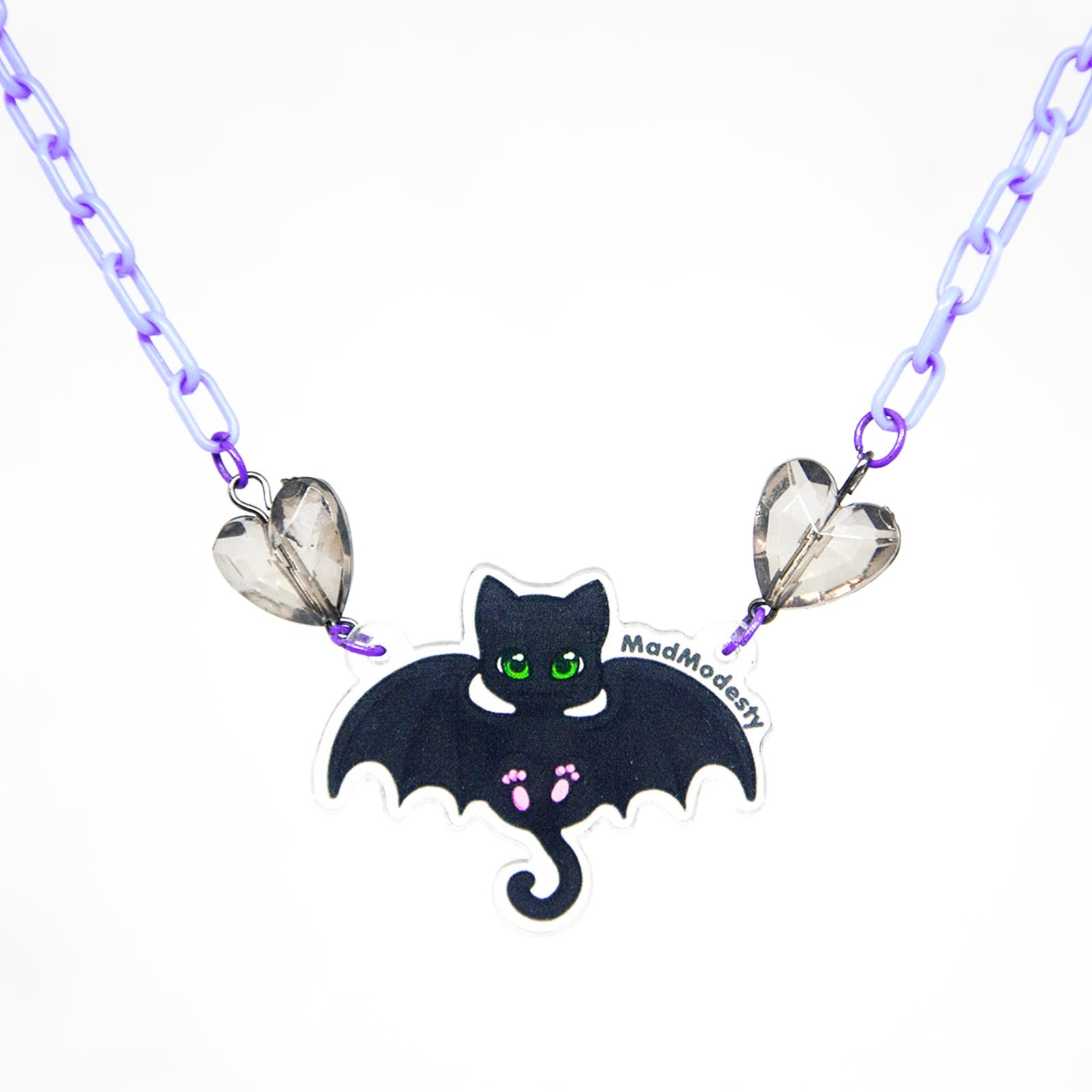 Purple plastic batcat choker necklace