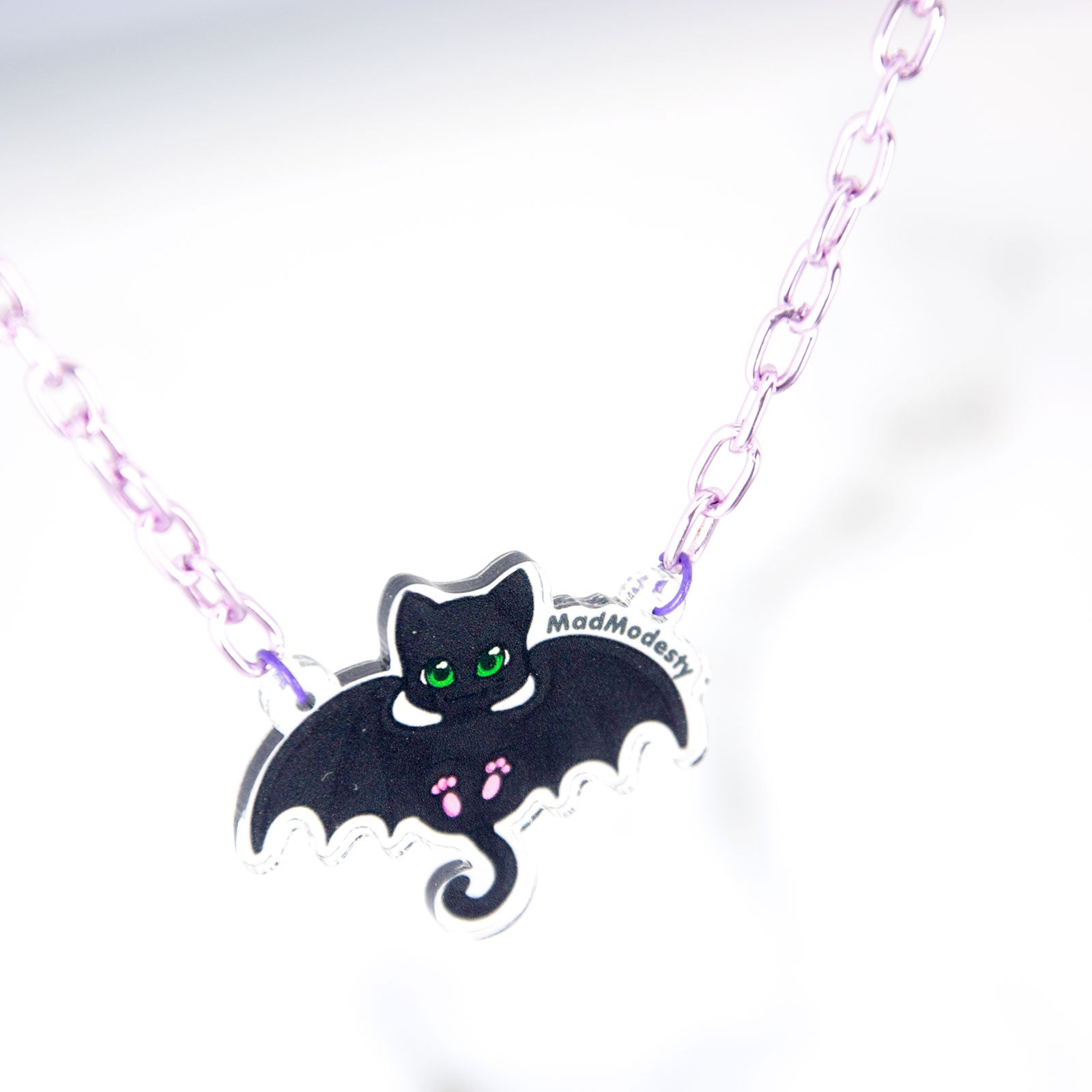Pastel goth bat cat purple necklace - MadModesty