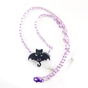 Creepy cute bat cat purple necklace - MadModesty
