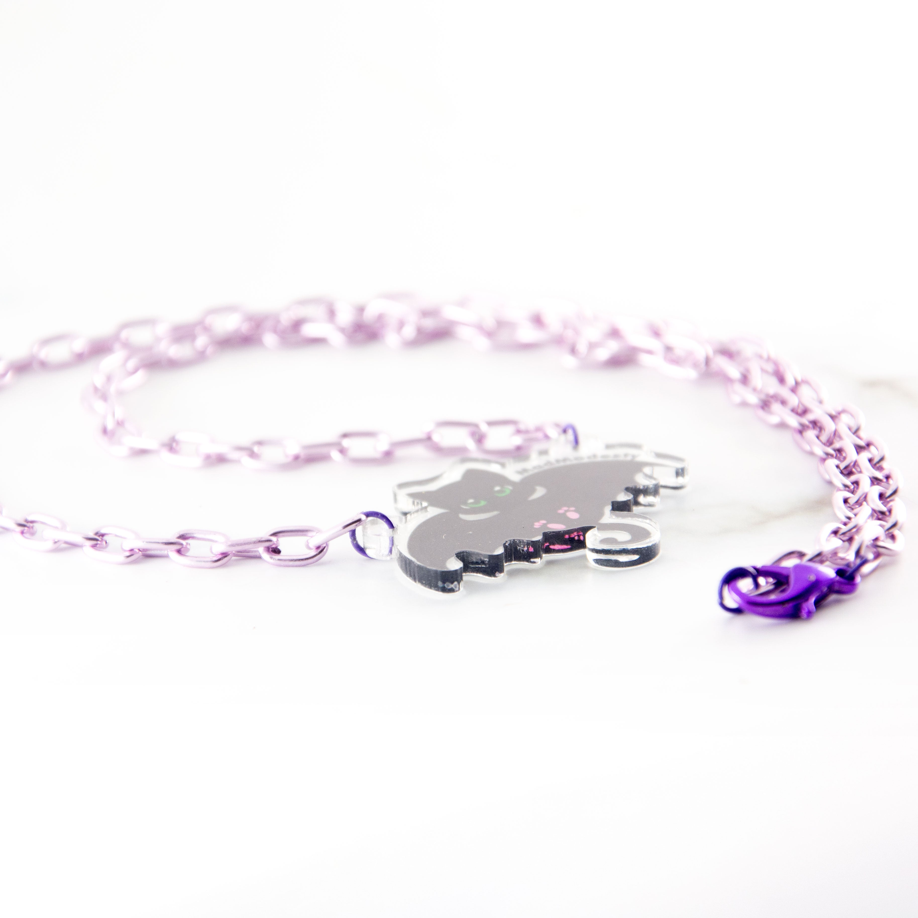 Sweet goth bat cat purple necklace - MadModesty