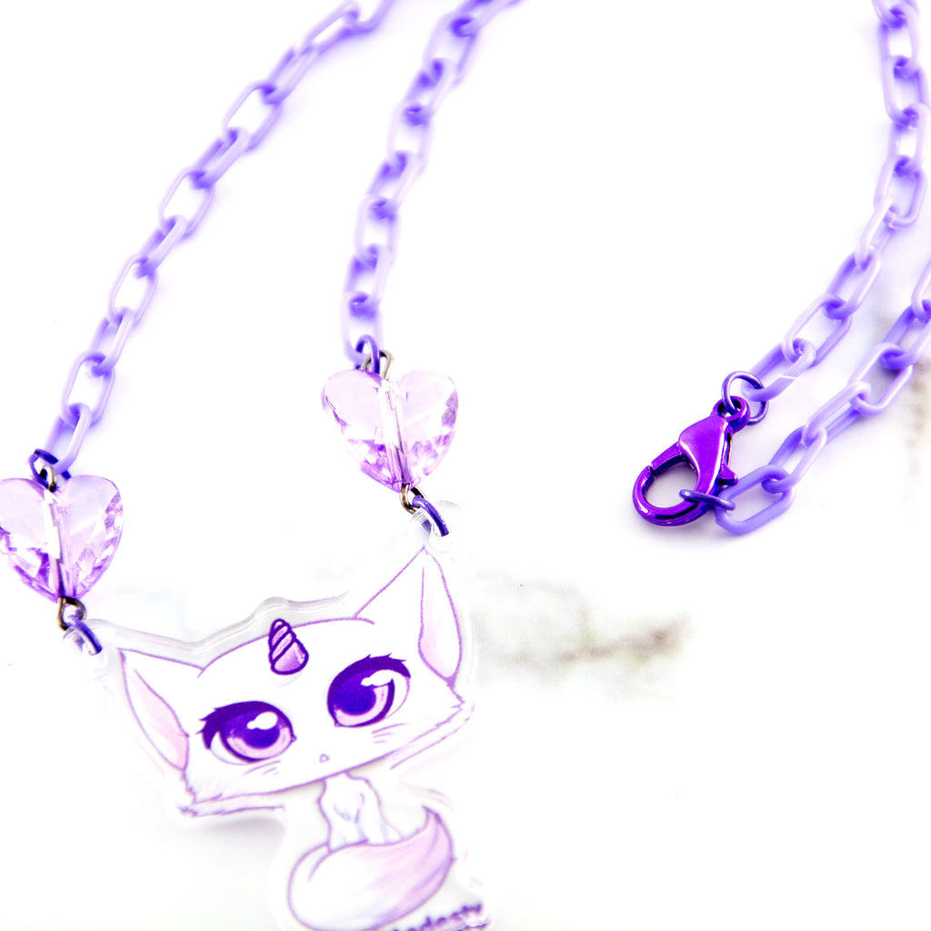 Purple unicorn cat necklace