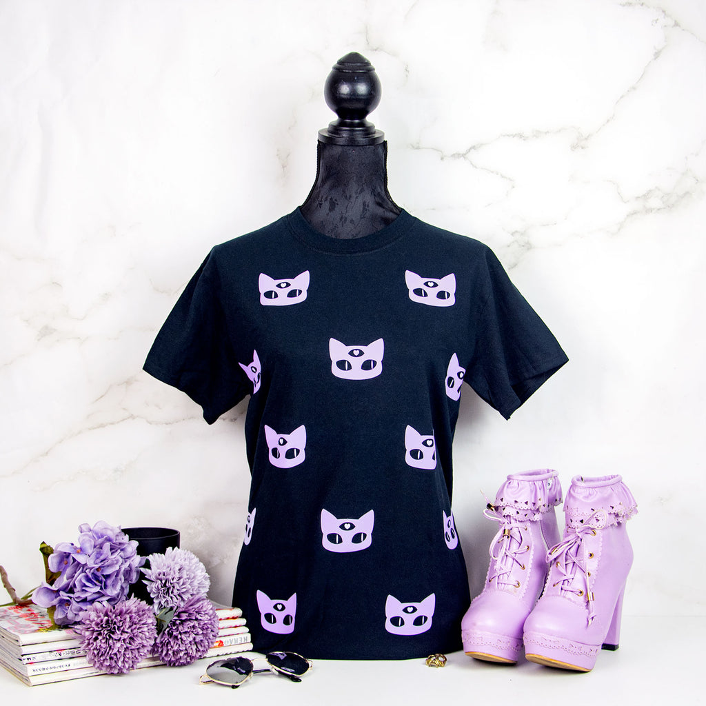 Pastel goth Black and lilac T-shirt - MadModesty