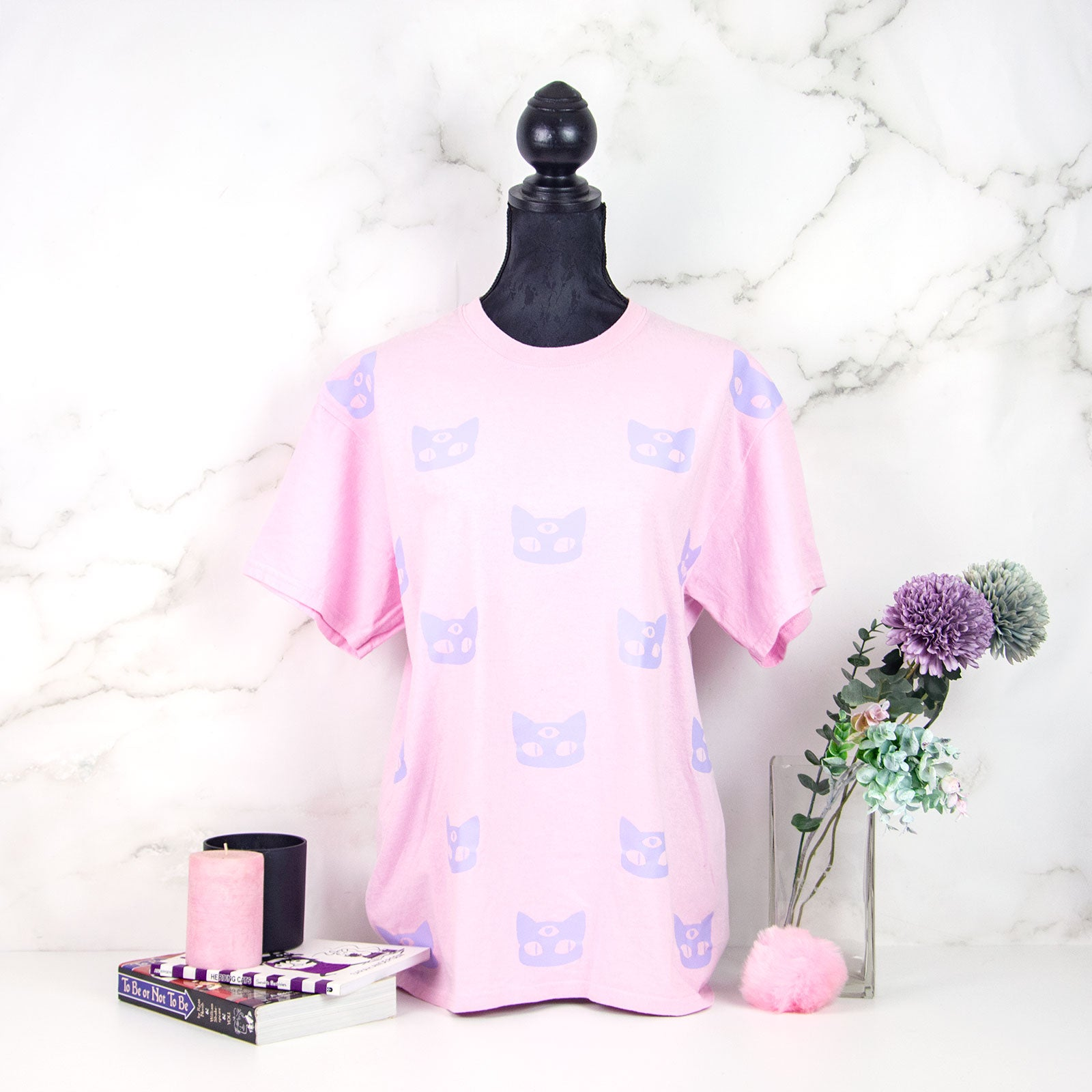 Pastel goth pink and lilac alien space cat t-shirt - MadModesty