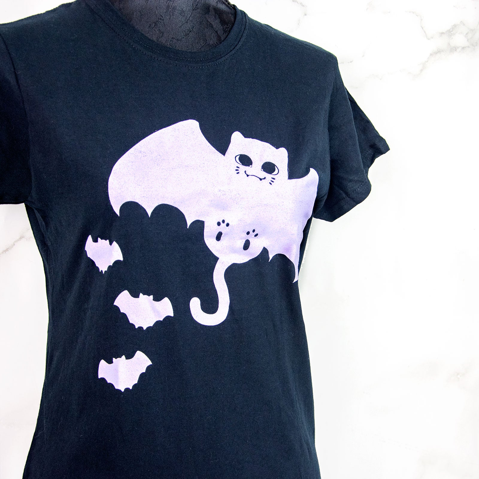 Pastel goth Bat Cat fashion T-shirt - MadModesty