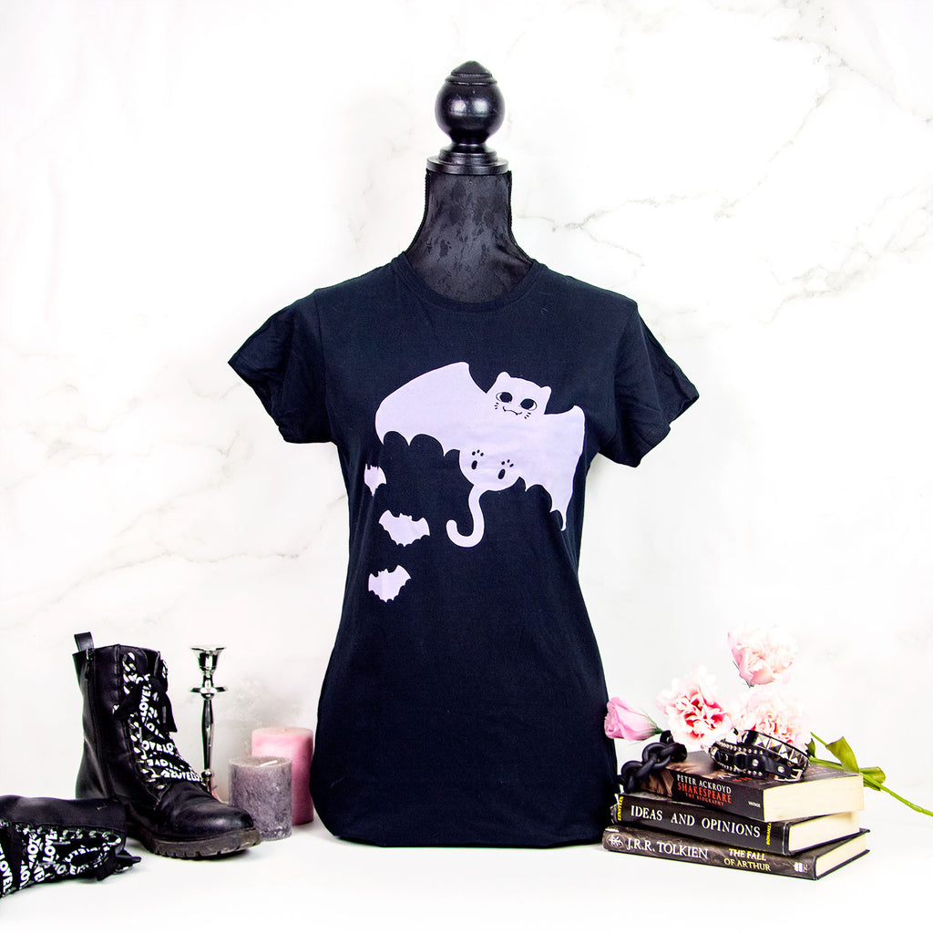 Black and lilac Bat Cat T-shirt - MadModesty