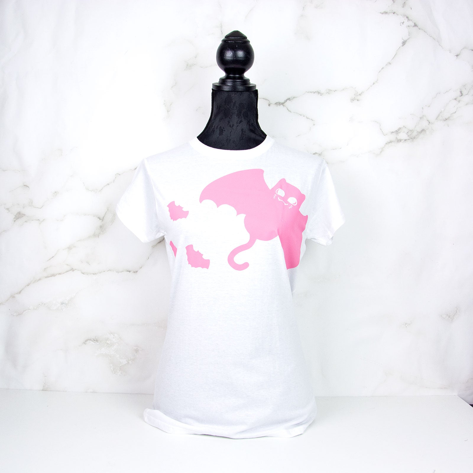Pink bat cat T-shirt