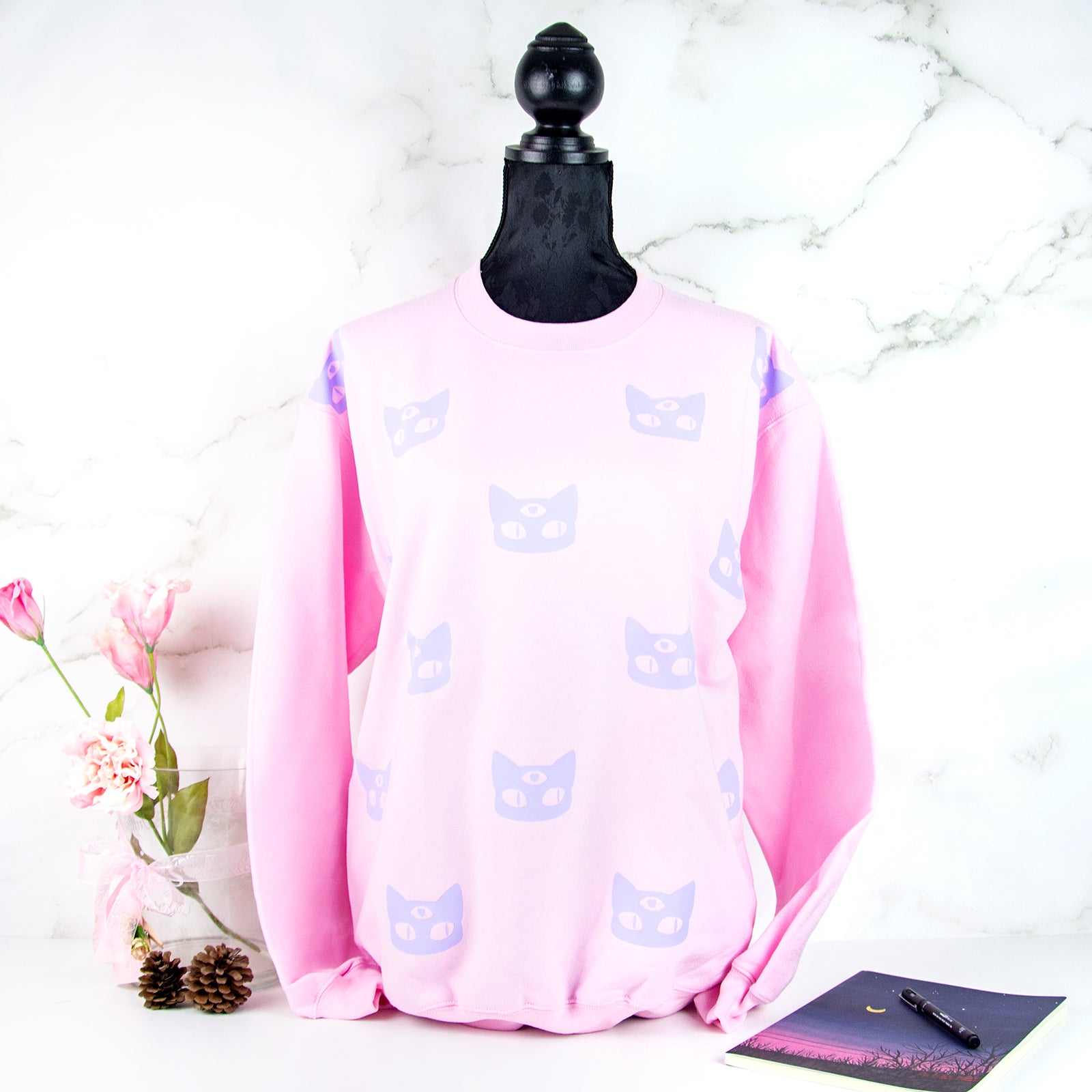Pink and lilac 3-eyed cat sweater