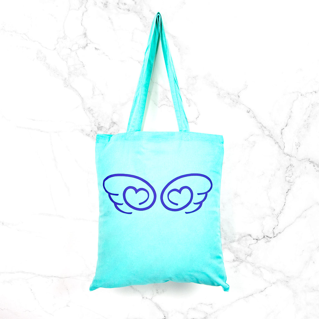 Kawaii angel wing tote bag sweet mint winged heart pastel grunge