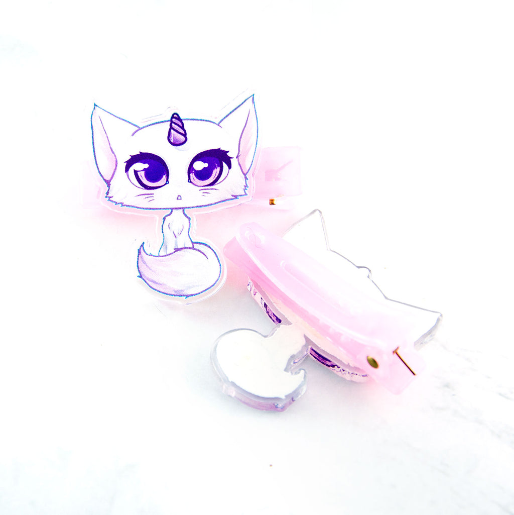 Unicorn cat hair clips