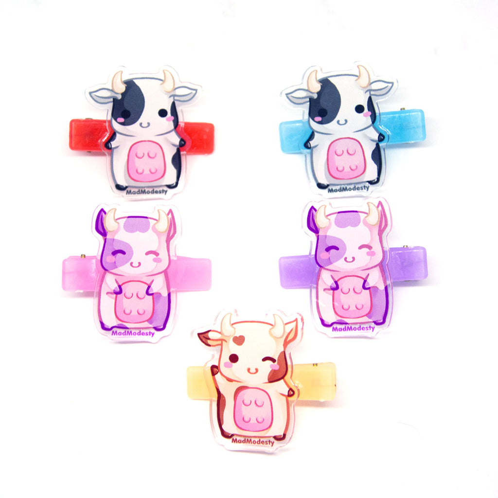kawaii pastel anime cow hair clips - MadModesty