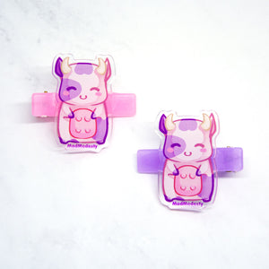 awaii pastel farm animal chibi cow hairclip - MadModesty