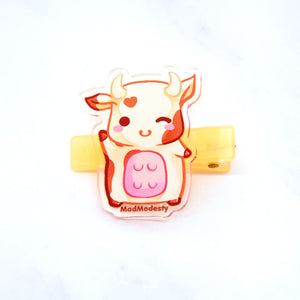 cute chibi manga cow hair clip - MadModesty