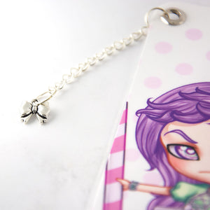 Creepy cute bow chibi manga bookmark - MadModesty