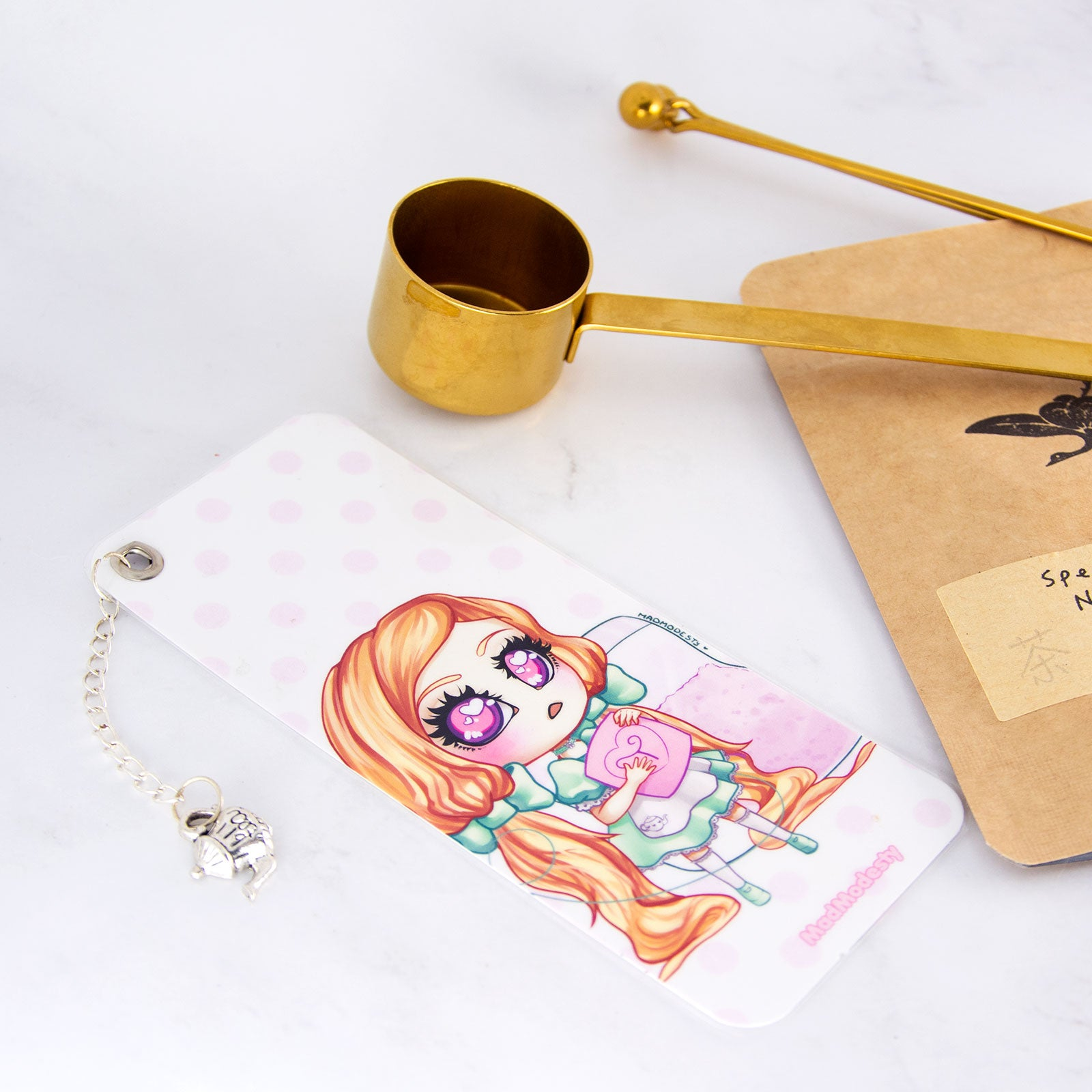 Tea maid bookmark with charm - MadModesty