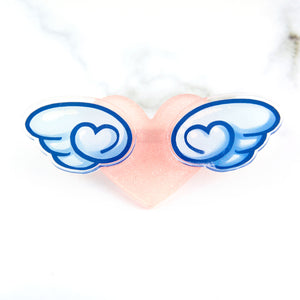 Winged heart brooch - Blue wings - MadModesty