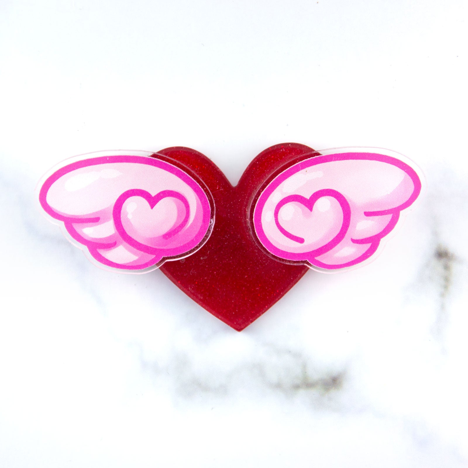 Winged heart brooch - Pink wings