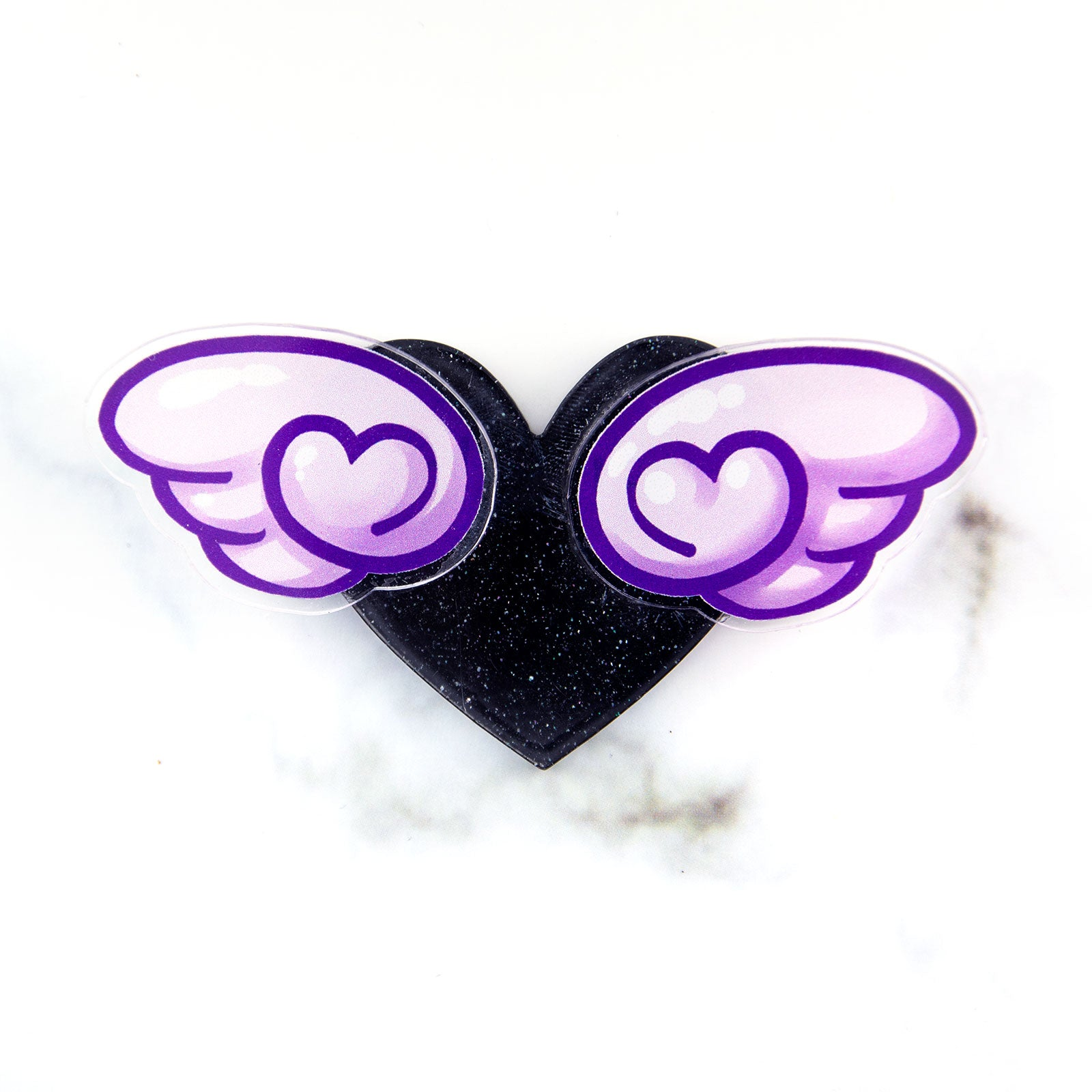 Winged heart brooch - purple wings