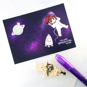 Space girl postcard