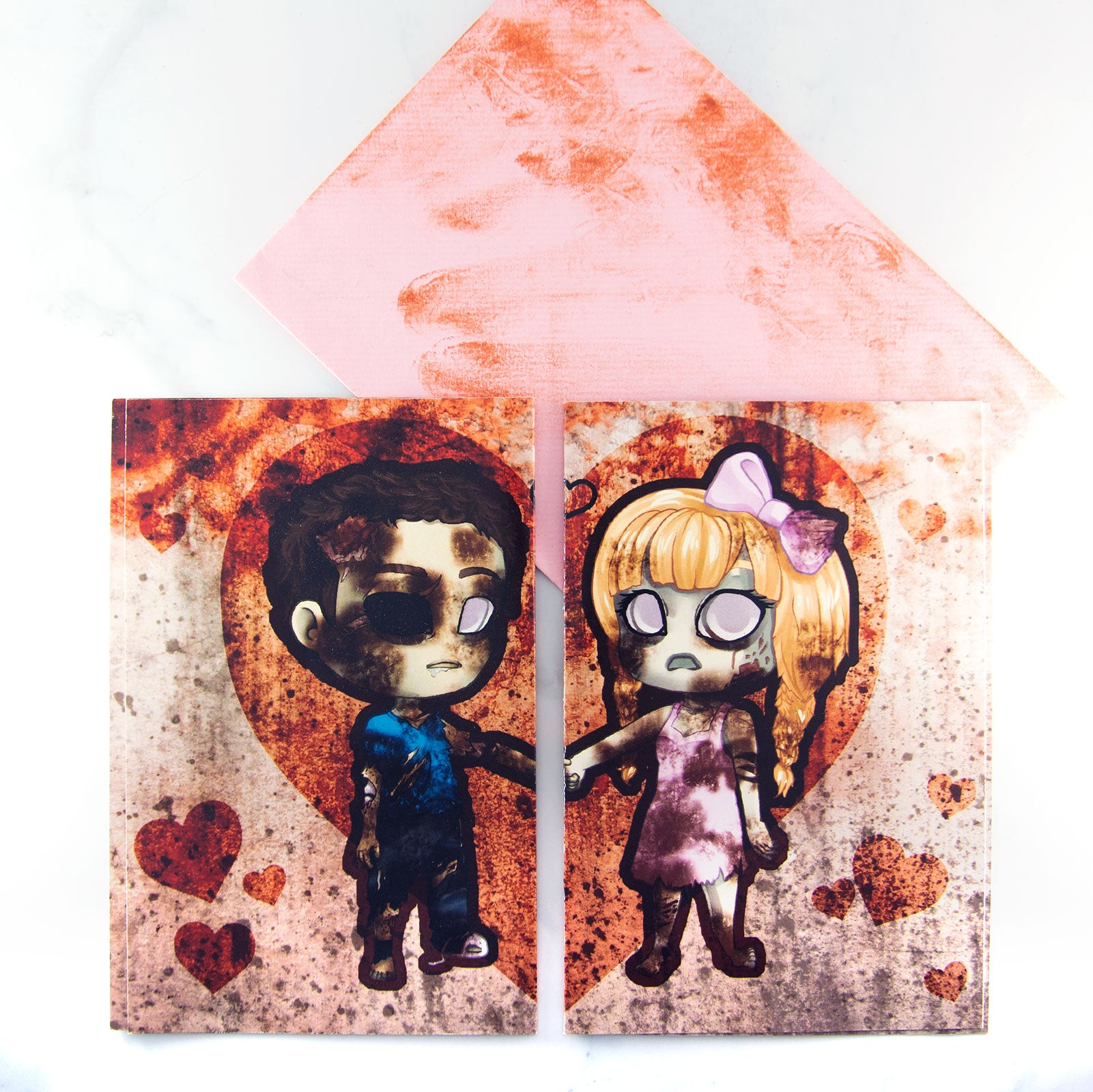 Zombie valentine card with charms