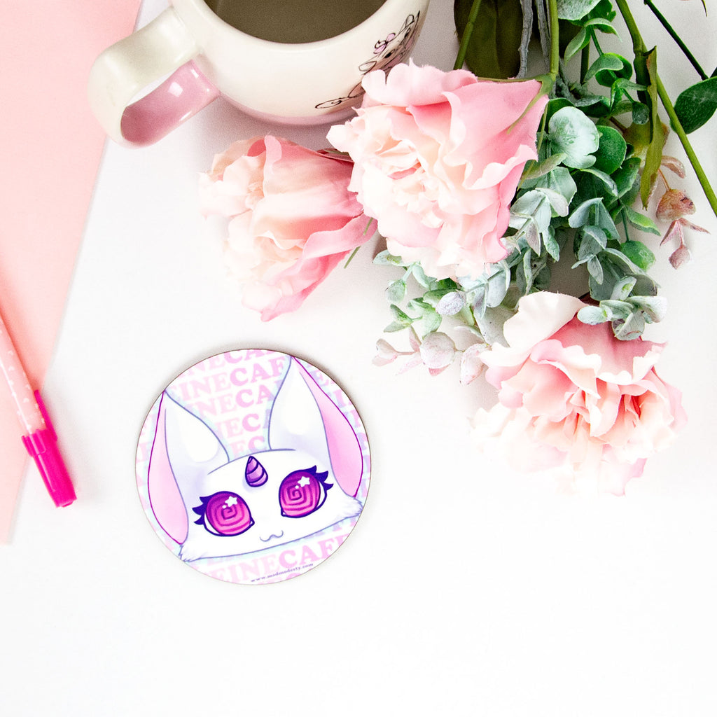 kawaii pastel pink overcaffeinated cat coaster - MadModesty