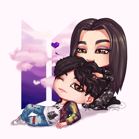 BTS chibi custom art commission bias portrait couple drawing manga anime style