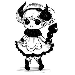 Custom monochrome chibi portrait