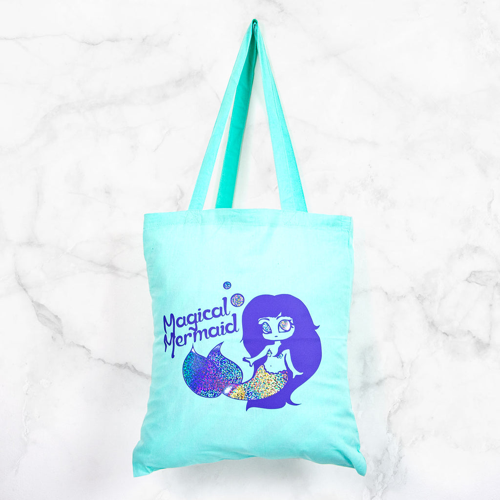 Holographic magical mermaid mint tote bag - MadModesty