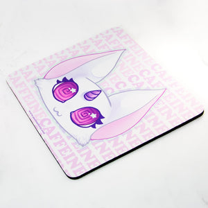 Pink coffee lover unicorn cat mousepad