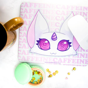 Caffeine unicorn cat kawaii office mousemat - MadModesty