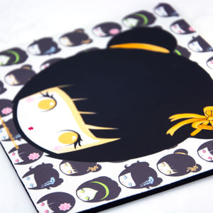 Kawaii manga Kokeshi doll office Mouse mat - MadModesty