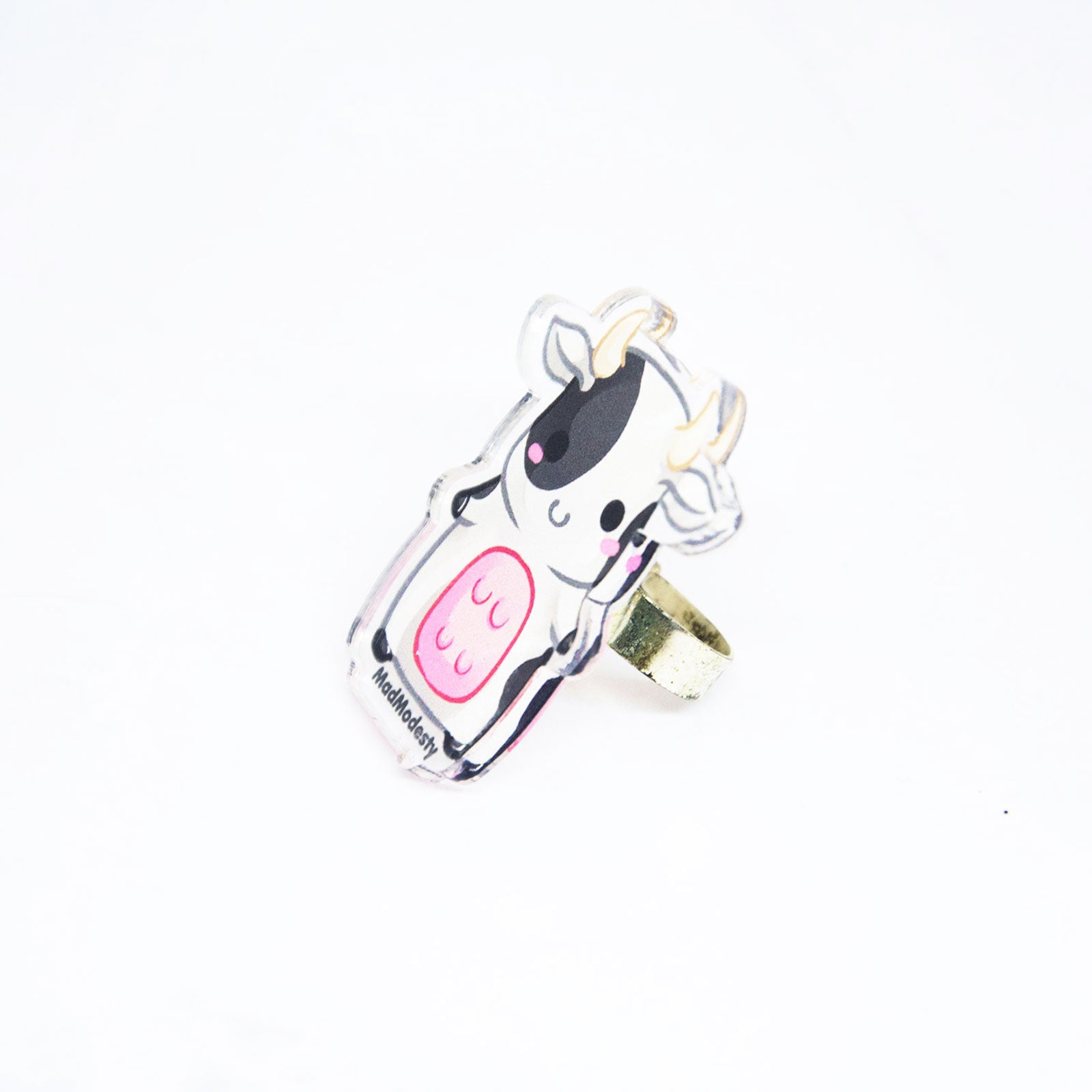 Acrylic charm baby farm anime cow ring - MadModesty