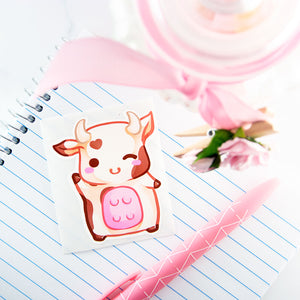 Chibi cow sticker - brown