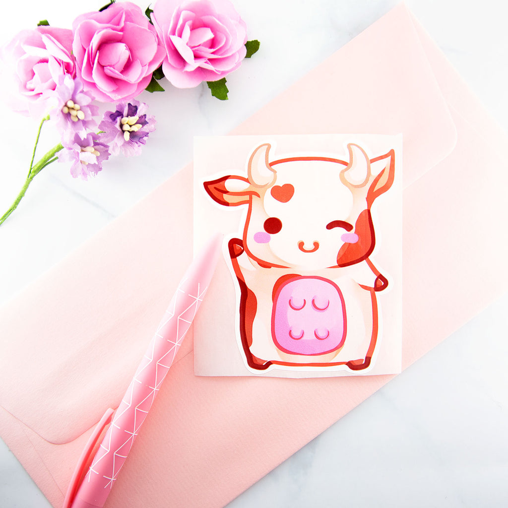 Kawaii chibi cow sticker - MadModesty